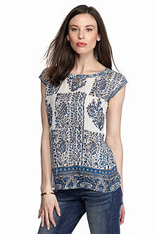 TWO by Vince Camuto Printed Split Back Blouse