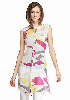 TWO by Vince Camuto Sleeveless Print Chiffon Tunic