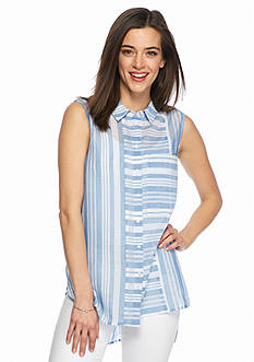 TWO by Vince Camuto Mix Stripe Button Front Blouse