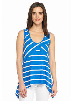 TWO by Vince Camuto Stripe Shark-bite Hem Tank