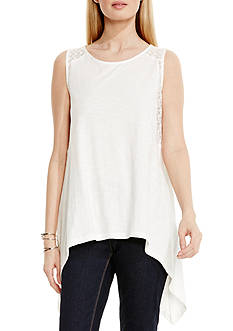 TWO by Vince Camuto Lace Trim Sharkbite Hem Tank
