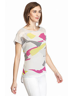 TWO by Vince Camuto Abstract Print Mix Media Tee