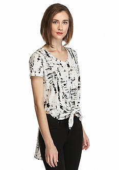 TWO by Vince Camuto Hi-Lo Tie Front Tee