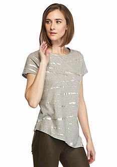 TWO by Vince Camuto Asymmetrical Hem Foiled Tee