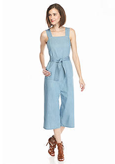 TWO by Vince Camuto Chambray Belted Culotte Jumpsuit