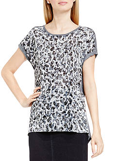 TWO by Vince Camuto Animal Front Roll Sleeve Tee
