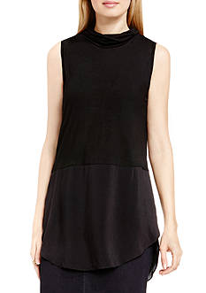 TWO by Vince Camuto Mix Media High Low Tunic