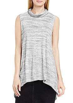 TWO by Vince Camuto Spacedye Mock Neck Tunic