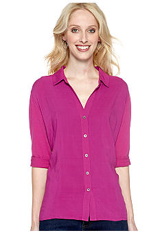TWO by Vince Camuto Mixed Media Button Front Shirt
