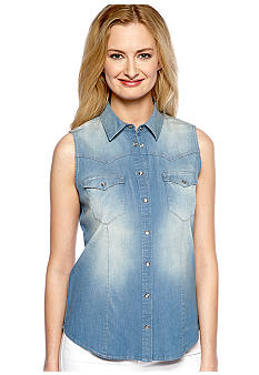 TWO by Vince Camuto Sleeveless Chambray Shirt