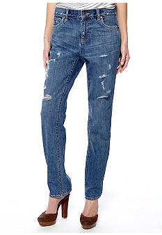 TWO by Vince Camuto Distressed Boyfriend Jean
