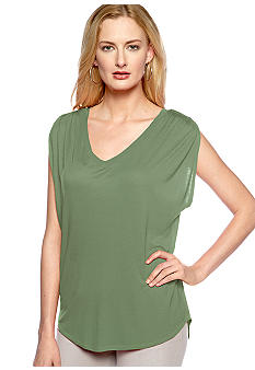 Vince Camuto V-Neck Shirred Shoulder Sleeveless Tee
