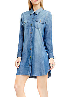 TWO by Vince Camuto Denim Long Sleeve Shirtdress