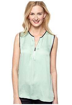 Vince Camuto Sleeveless Henley Blouse with Zipper Embellishment