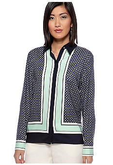 Vince Camuto Button Down Medallion Border Blouse