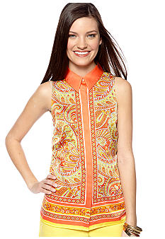 Vince Camuto Sleeveless Bordered Paisley Blouse with Collar