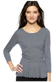 Vince Camuto Three Quarter Sleeve Peplum Peasant Blouse