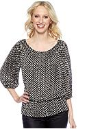 Vince Camuto Three Quarter Sleeve Peplum Teardrops Peasant Blouse