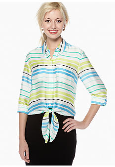 Vince Camuto Tie Waist Button Down Stripe Blouse