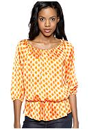 Vince Camuto Three Quarter Sleeve Polka Dot Peplum Blouse