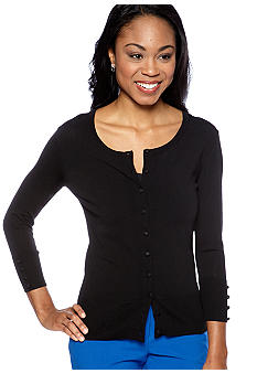Vince Camuto Button Front Ribbed Trim Cardigan