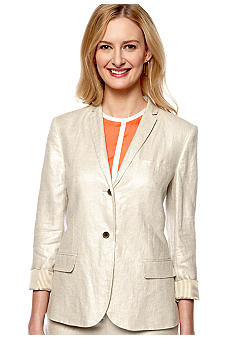 Vince Camuto Two Button Gold Foiled Linen Blazer