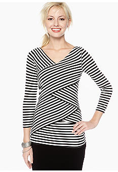Vince Camuto Three Quarter Sleeve Stripe Bandage Top
