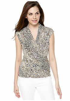 Vince Camuto Cheetah Print Wrap Top