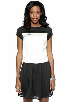 Vince Camuto Short Sleeve Dropped Waist Colorblock Dress
