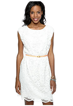Vince Camuto Corded Lace Dress with Belt