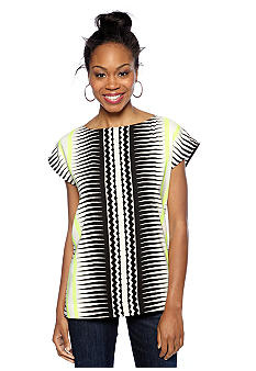 Vince Camuto Echo Wave Print Boxy Top