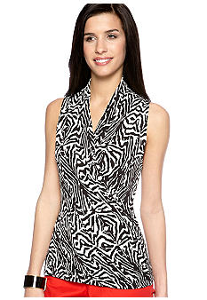 Vince Camuto Sleeveless Zebra Print Wrap Top