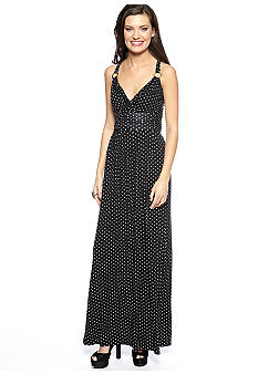 Vince Camuto Wrap Halter Polka Dot Maxi Dress