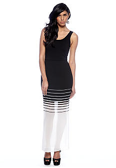 Vince Camuto Chiffon Overlay Inverted Stripe Maxi Dress