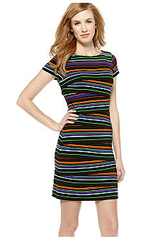 Vince Camuto Variegated Stripe Zig Zag Dress
