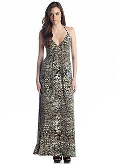 Vince Camuto Desert Leopard V Neck Halter Maxi Dress