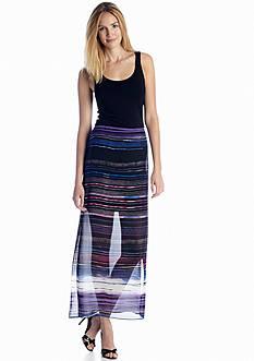 Vince Camuto Chiffon Overlay Stripe Maxi Dress