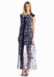 Vince Camuto Tribal Patchwork Tie Waist Maxi Dress