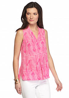 Vince Camuto Printed Inverted Pleat Blouse