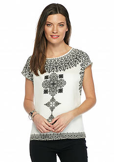 Vince Camuto Ornate Block Panel Blouse