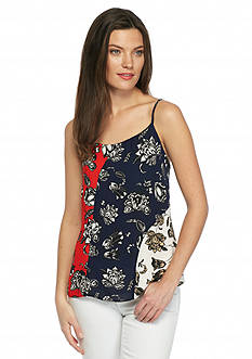 Vince Camuto Floral Colorblock Tank