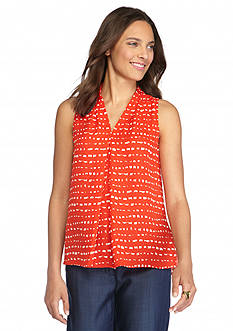 Vince Camuto Print Inverted Pleat Blouse