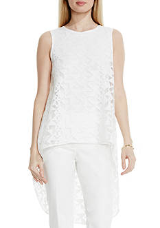 Vince Camuto Burnout High Low Blouse