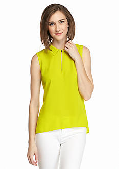 Vince Camuto Sleeveless Collared Keyhole Blouse