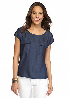 Vince Camuto Dolman Chambray Top
