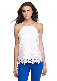 Vince Camuto Floral Lace Front Tank