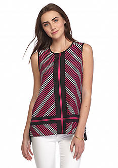 Vince Camuto Diagonal Rays Mix Media Tank