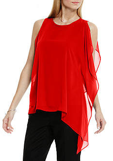 Vince Camuto Sleeveless Asymmetrical Chiffon Overlay Top