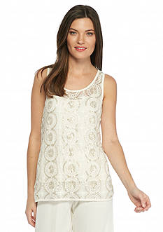 Vince Camuto Sequin Embroidered Net Tank