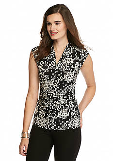 Vince Camuto Dotted Ruched Side Top